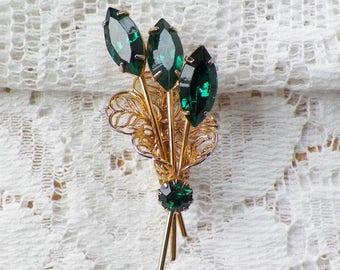 Vintage Rich Emerald Green Rhinestone Bouquet Brooch / Pin / Broach, Navette Rhinestones, Gold Tone Metal, Filigree, Flowers / Flower