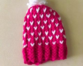 Newborn Fair Isle Knit Hat, Newborn Heart Hat, Newborn Knit Hat