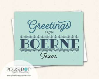 Greetings from Boerne, Texas Note Cards