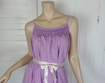 70s Lavender Peasant Dress / Nightie- 1970s Sundress- Boho / Festival- One Size
