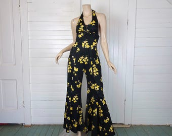 70s Bell Bottoms Jumpsuit in Black & Yellow Flowers- Matching Blouse- 1970s Disco / Festival