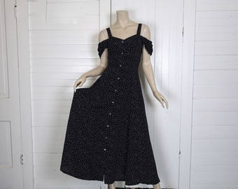 90s Off the Shoulder Dress in Black & White Polka Dots- 1990s Summer Maxi Dress- Club- Small / Medium- Sundress