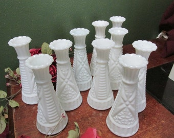 Milk Glass Bud Vases Set of 10 Weddings Vase
