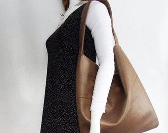 Brown Faux Suede Handbag, medium brown textured suede-look shoulder bag, large slouchy hobo sling purse
