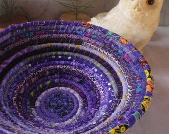 Handmade Coiled Fabric Basket - Purple Gypsy - Catchall, Organizer, Colorful, Handmade by Me