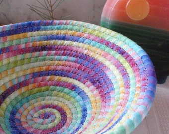 Rainbow Colored Batik Coiled Fabric Basket - Catchall, Organizer, Handmade by Me