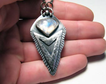 Large moonstone pendant Large arrowhead pendant Silver arrow pendant Arrowhead pendant Silver moonstone pendant Triangle pendant Womens gift
