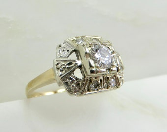 Circa 1960 .30 carat Diamond and 14kt Gold Engagement Ring