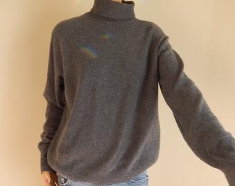 grey cashmere, mens turtleneck,  medium