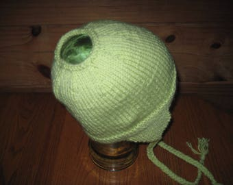 Hand Knit Ponytail Hat with Earflaps Large Child or Teen Light Fern Green Acrylic Free US Shipping!