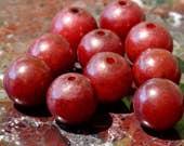 Vintage 12mm Burgundy Red Jade Natural Nephrite Round Beads - Ten 10 Piece 12 mm Bead Set