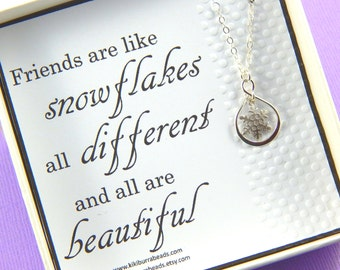 Snowflake Necklace, Best Friend Necklace, Snowflake Charm Necklace, Friendship Necklace, Sisters Gift , Infinity Necklace, Best Friend Gift