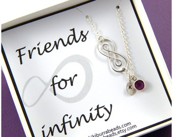 Friends for Infinity personalized birthstone necklace , best friend necklace, sisters necklace,birthstone necklace, Double infinity necklace