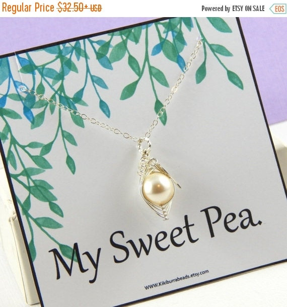 Christmas Sale Pea Pod Necklace Sterling Silver Swarovski Pearls Choose Your Color Pearl. For Family Sisters Bridesmaids Or Someone You Love