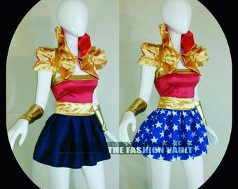 Two in one Wonder Woman Reversible Cosplay dance costume skirt and collar bolero shrug wrap