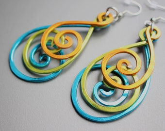 Hammered Peacock BOLD Long Swirly Spiral Feather Aluminum Earrings, Blue Gold Green Silver