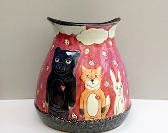 Animal Vase, Black Bear, Orange Fox, and Rabbit on Red Vase with Raining Skulls, Home Decor, Animal Art Pottery