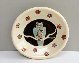 Owl Dish, Small Oval Plate with Blue Owl and Flowers, Blue and White Animal Art Pottery Dish