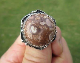 ROUND RING of ROBUSTNESS - Sterling Silver Poppy Jasper Ring - Size 9 1/2 - Free Resizing