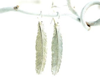 Silver Feather Earrings, Silver Earrings, Bird Feather Earrings, Silver Boho Earrings, Silver Bird, Angel Feather