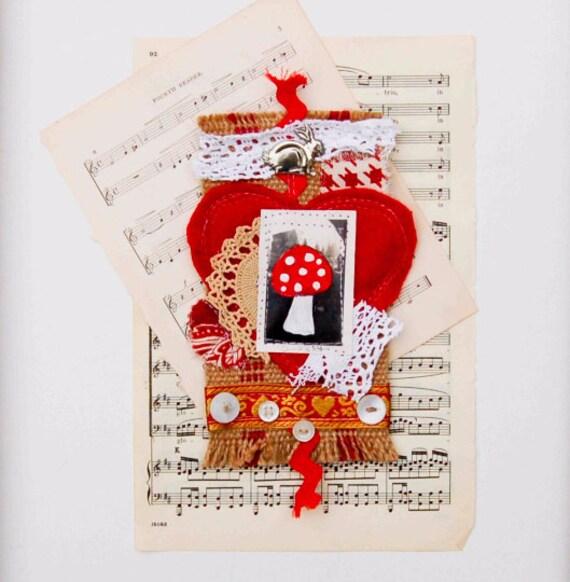 Embroidered Mushroom Mini Textile Art Red Heart Vintage Lace Toadstool Burlap Embroidery Fiber Art Rabbit Alice in Wonderland
