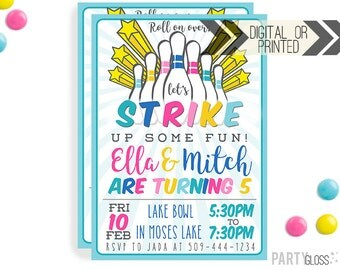 Bowling Birthday Party Invitation | Digital or Printed | Bowling Invitation | Sibling Invitation | Boy Girl Bowling | Boy Girl Twin Invite