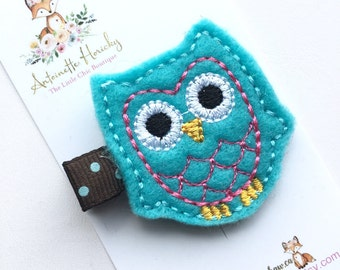 Embroidered Turquoise Owl Girls Hairclip