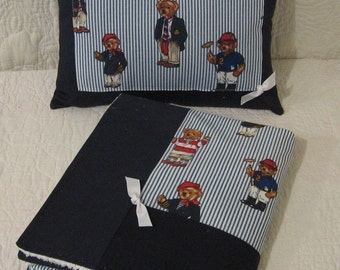 "ABC Baby Blanket and Pillow Set - Ralph Lauren ""Polo"" Teddy Bears Fabric"