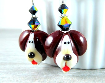 Puppy Dog Dangle Earrings, Pet Jewelry, Mixed Breed Hound Dog Earrings, Cute Animal Earrings, Brown Ivory Black Lampwork Glass Earrings
