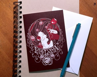 Greeting Card - Poison - Blood Rose - Stationary, Art Print, Fairy Tale, Snow White, Sleeping Beauty, Poison Apple, Red, Roses, Princess