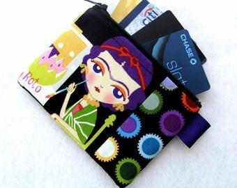 Esperanza Artist Frida Kahlo Womens Credit Card Case Zipper Coin Purse Wallet Business Card Holder Fabric Alexander Henry Black Colorful MTO