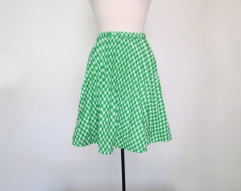 PICNIC // 60s polyester lime green checkered pleated skirt