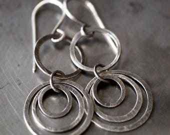 Simple and chic cascading, layered hammered sterling silver hoop earrings