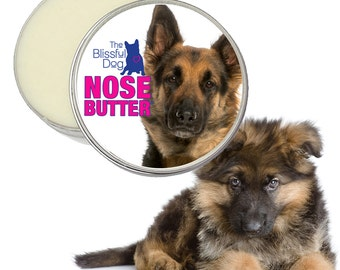 German Shepherd NOSE BUTTER® All Natural Handcrafted Balm for Dry or Crusty Dog Noses 16 oz. Tin with German Shepherd Label in Gift Bag