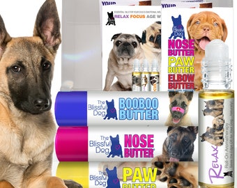 BELGIAN MALINOIS On-the-Go Combo for Dry Crusty Dog Noses, Rough Paws, Skin Irritations and Stress & Anxiety with Belgian Malinois Labels
