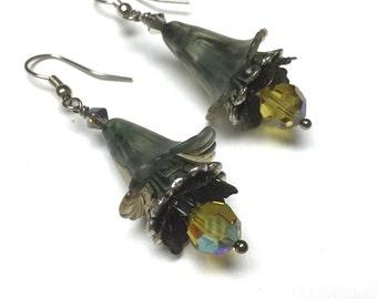 Victorian Flower Earrings. Medium Drop Earrings. Misty Grey. Yellow. Lightweight. Garden. Romantic. Fairy. Be Mine. Handmade Jewelry.