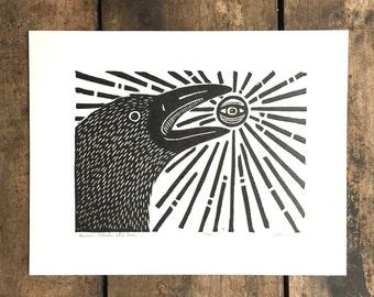 Raven Steals the Sun   Linoleum Print on Paper