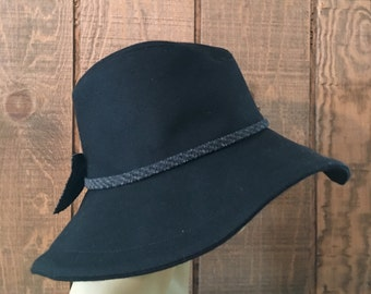 Stately Black Wool Wide Brim
