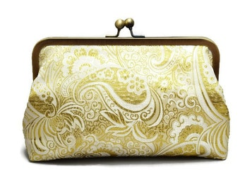 Gold Wedding Clutch,  Winter Wedding, Bridal Purse, Bridesmaids Gifts, Formal Clutch, Kiss Lock Purse