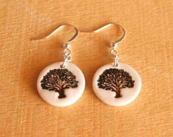 Ceramic OAK TREE Earrings - Handmade Porcelain Oak Tree Jewelry - Fall Autumn Jewelry - Ready To Ship