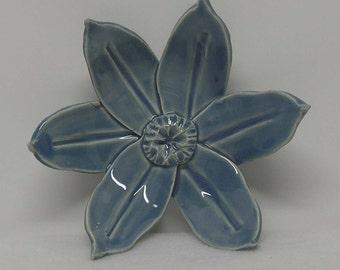 Light Blue Handbuilt Porcelain Flower Medium