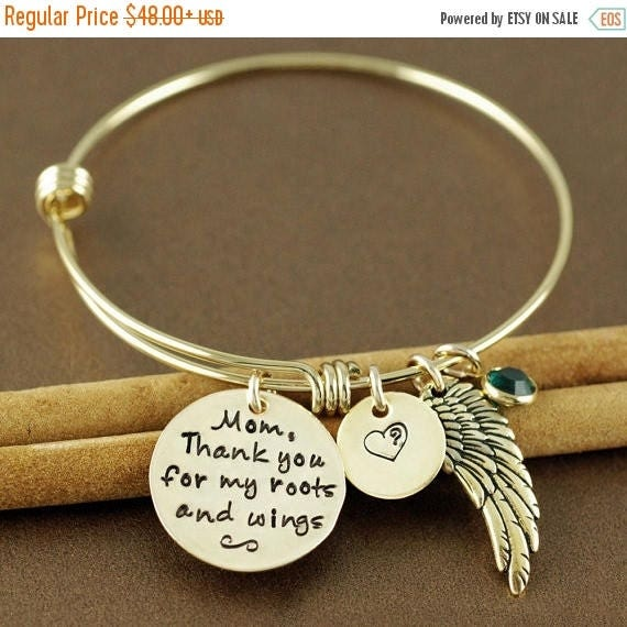 15% OFF SALE Roots & Wings Bracelet, Personalized Bangle Bracelet, Angel Wing Bracelet, Gold Bangle Charm Bracelet