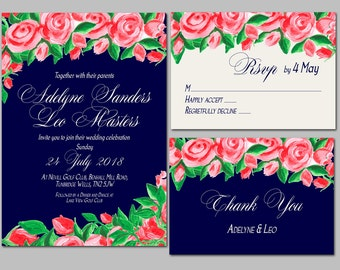 Printable Wedding Invitation Package, DIY invitations, Hand painted design Flower, Reply rsvp Card, Thank you card, Printable wedding invit