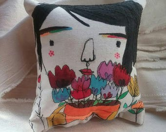 My little people Art in Stitches cushion