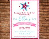 American Doll Girl Store Star Red Pink Blue Bistro Birthday Party Invitation - DIGITAL FILE