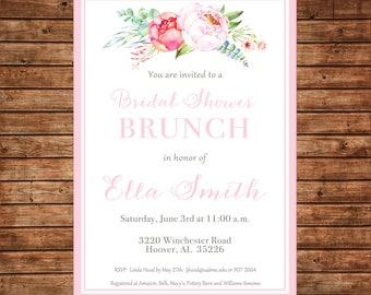 Watercolor Flowers Peonies Bridal Bridesmaids Luncheon Brunch Wedding Baby Girl Sprinkle Tea Shower Party Invitation - DIGITAL FILE