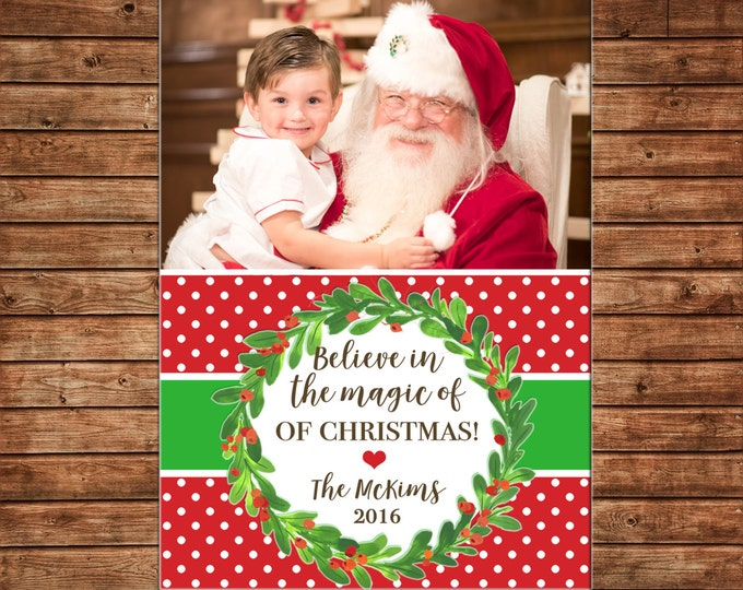 Christmas Holiday Photo Card Watercolor Wreath Ribbon - Can Personalize - Printable File or Printed Cards