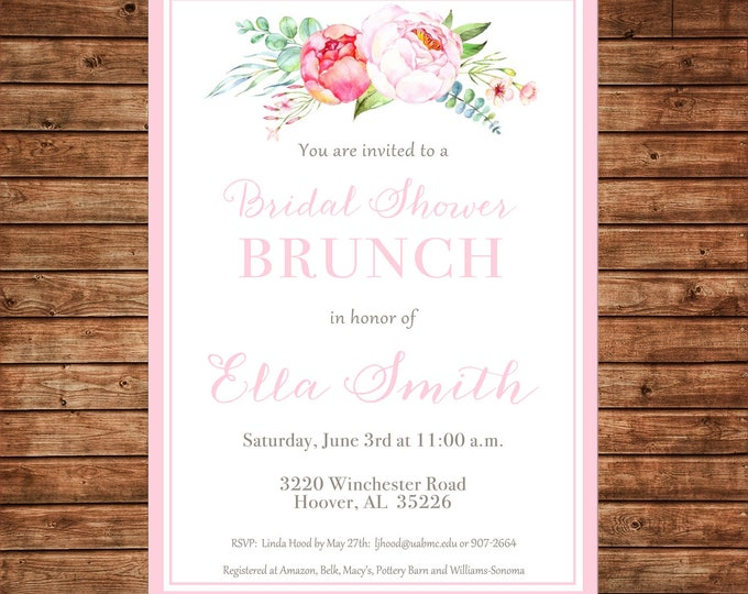 Watercolor Flowers Peonies Bridal Bridesmaids Luncheon Brunch Wedding Baby Girl Sprinkle Tea Shower Party Invitation - DIGITAL FILE