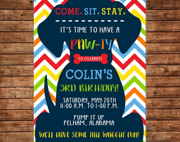 Boy Puppy Dog Bright Chevron Birthday Party Pawty  Invitation - DIGITAL FILE