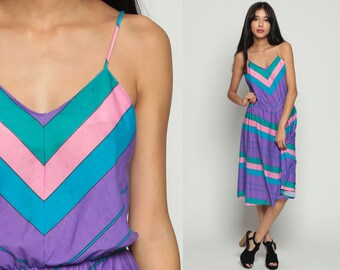 70s Sundress Boho CHEVRON Dress Striped Midi Lavender Hippie 1970s Bohemian Spaghetti Strap Sun Summer High Waist Purple Pink Medium Large